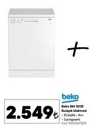 Beko BM 3033 A++ 3 Programlı Bulaşık Makinesi