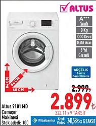 Altus AL 9101 MD A+++ 1000 Devir 9 kg Çamaşır Makinesi