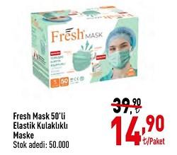 Fresh Mask 3 Katlı Yumuşak Elastik Kulaklı 50'li Meltblown Maske