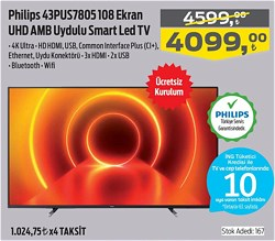 Philips 43PUS7805 108 Ekran UHD Amb Uydulu Smart Led Tv