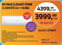 Baymak Elegant Prime 12 A++ 12000 BTU Inverter Duvar Tipi Klima