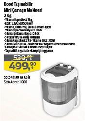 Bood 3 kg Taşınabilir Mini Çamaşır Makinesi