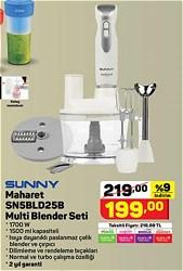 Sunny Maharet SN5BLD25B 1700 W Multi Blender Seti