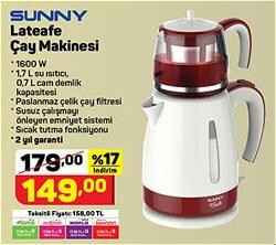 Sunny laTeafe SN5 CKM 10 1600 W Cam Demlikli Çay Makinesi