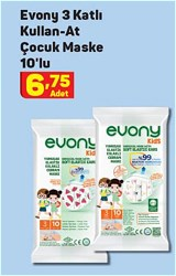 Evony Kids 3 Katlı Yumuşak Elastik Kulaklı Desenli 10'lu Çocuk Maskesi