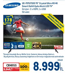 "Samsung UE-70TU7100 Crystal 4K Ultra HD 70"" 178 Ekran Uydu Alıcılı Smart LED Televizyon"