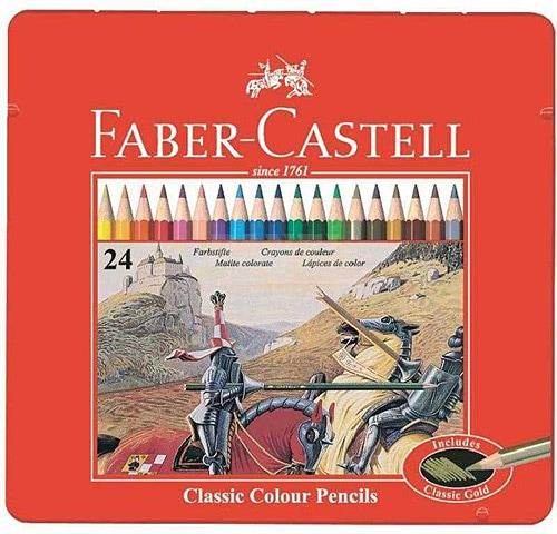 Faber Castell 24 Renk Metal Kutu Kuru Boya Kalemi Fiyatlari