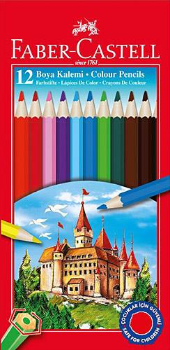 Faber Castell Tam Boy Karton Kutu 12 Renk Kuru Boya Kalemi