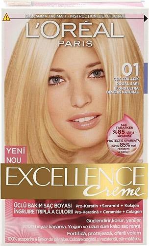 Loreal Excellence Creme 01 Çok Çok Açık Doğal Sarı Saç..